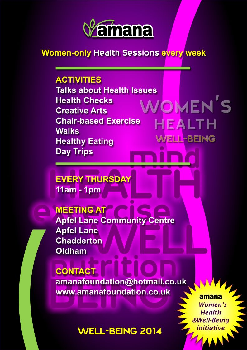 Poster for Amana Women's Health Sessions