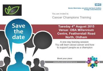 Cancer Champions Training 4th August